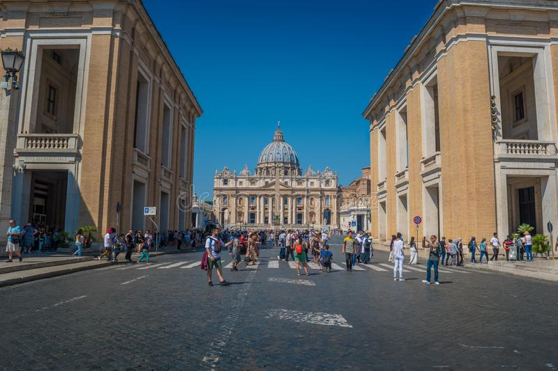 Conciliazione Street in Rome and the St. Peter`s Square in Vatican City. Via della Conciliazione is a street in the Rione of Borgo within Rome, Italy. Roughly royalty free stock photos