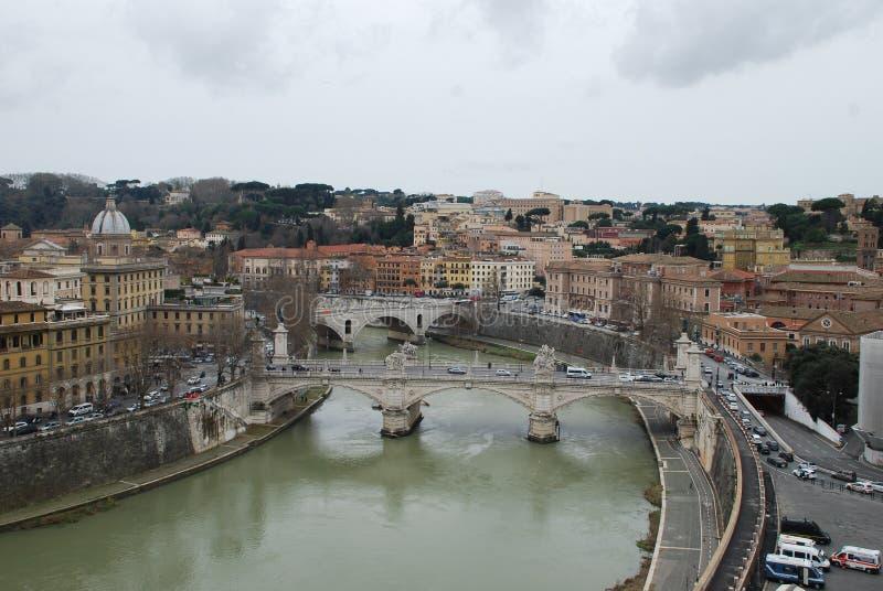 Via della Conciliazione, Tiber-Rivier, stad, stad, hemel, stedelijk gebied stock foto's