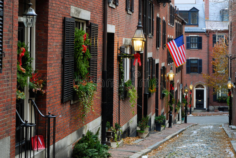 Via della ghianda, Boston fotografie stock