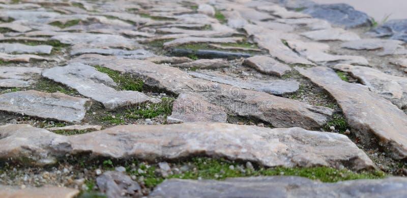 Via della vista bassa di Barcellona sulla strada europea della vecchia pavimentazione immagini stock