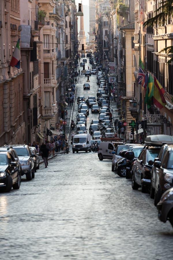 Via delle Quattro Fontane i den sena eftermiddagen rome fotografering för bildbyråer