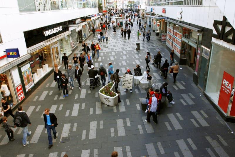 Via di acquisto a Stoccolma fotografia stock libera da diritti