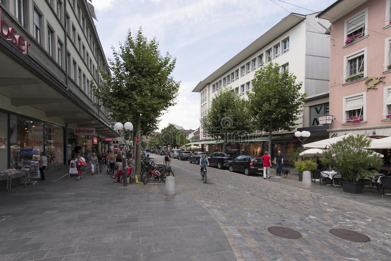 Via di Balliz nel centro di Thun, Svizzera immagine stock