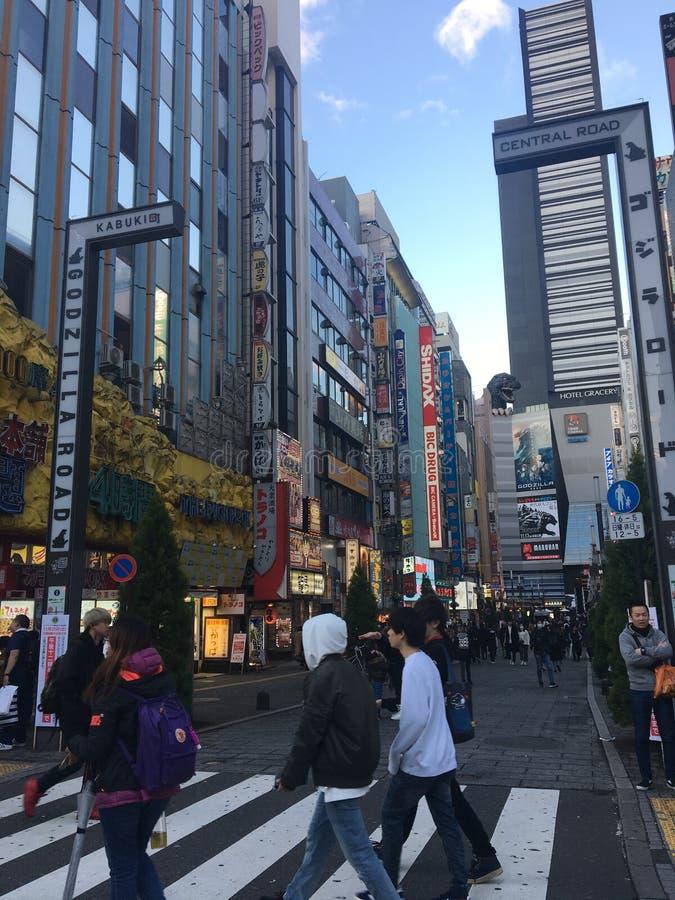 Via di Godzilla in Shinjuku, Giappone immagini stock libere da diritti