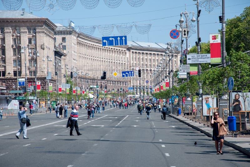 Via di Khreshchatyk a Kiev, Ucraina fotografia stock libera da diritti