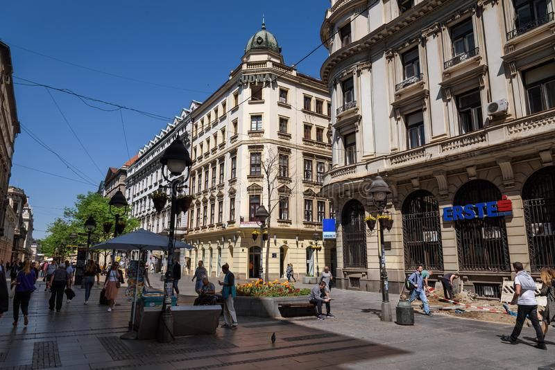 Via di Knez Mihailova a Belgrado fotografia stock