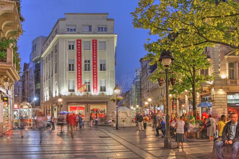 Via di Knez Mihailova, Belgrado, Serbia immagine stock
