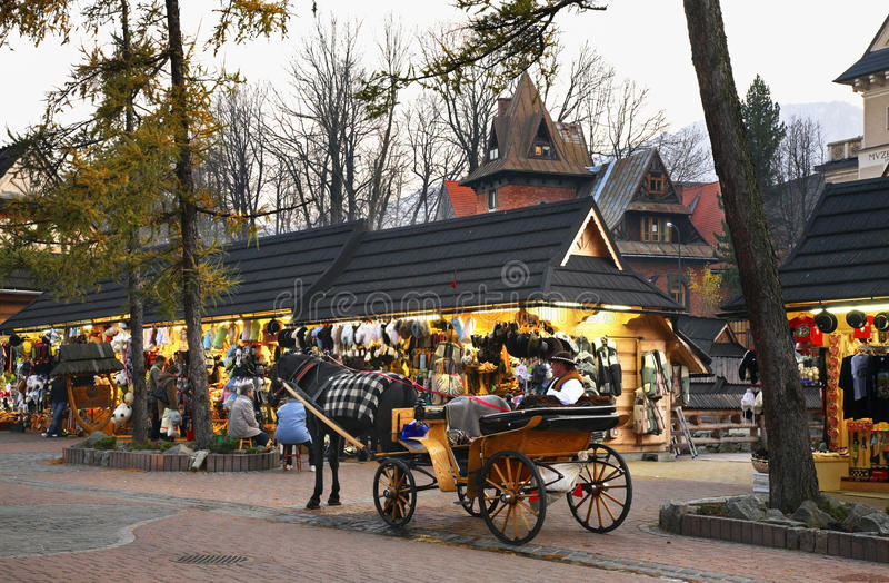 Via di Krupowki in Zakopane poland fotografia stock