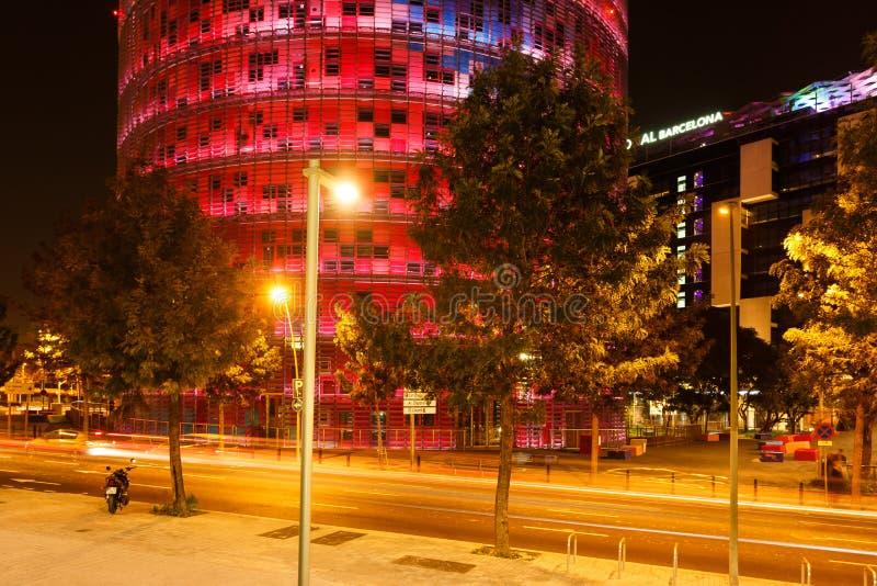 Via di notte di Barcellona fotografia stock libera da diritti