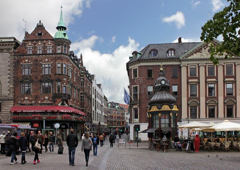 Via di Nygade (Stroget), Copenhaghen fotografia stock libera da diritti