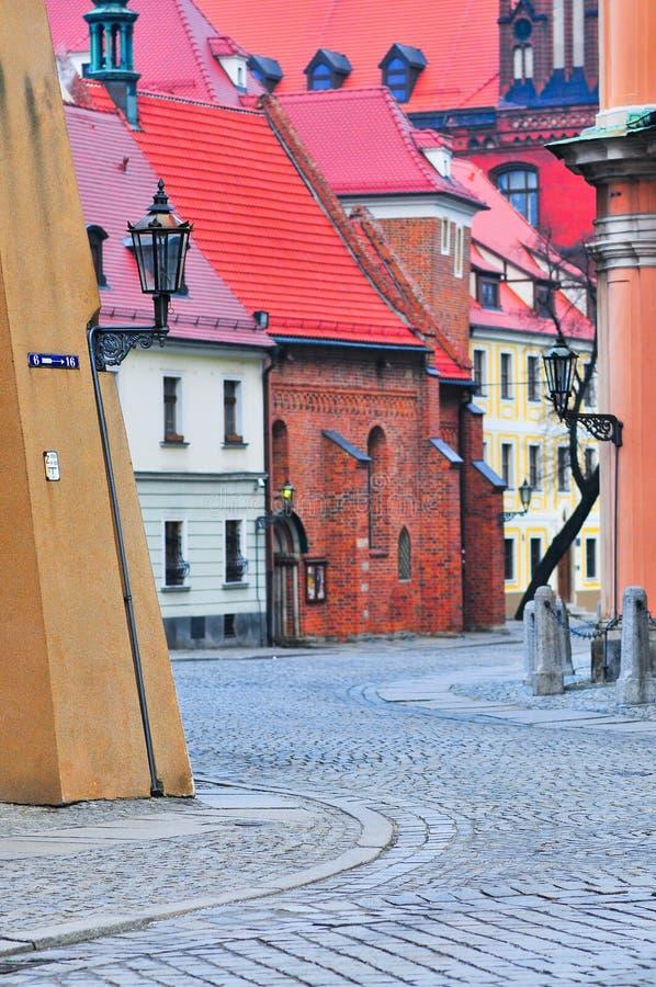 Via di Ostrow Tumski, Wroclaw, Polonia, gennaio 2018 immagine stock