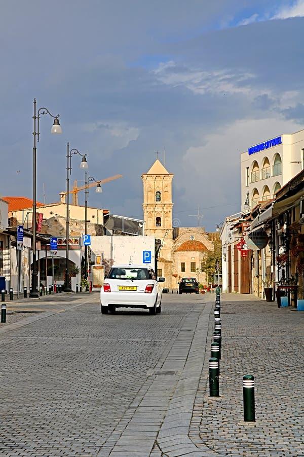 Via di Pavlou Valsamaki, una via turistica che conduce alla chiesa del san Lazzaro, Larnaca, Cipro immagini stock libere da diritti