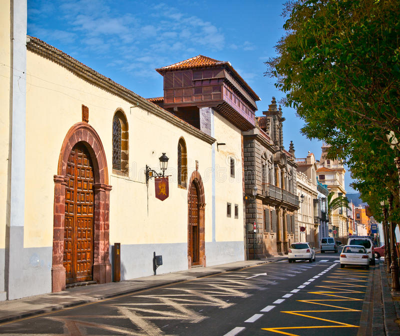 Via di San Cristobal de La Laguna in Tenerife immagine stock libera da diritti