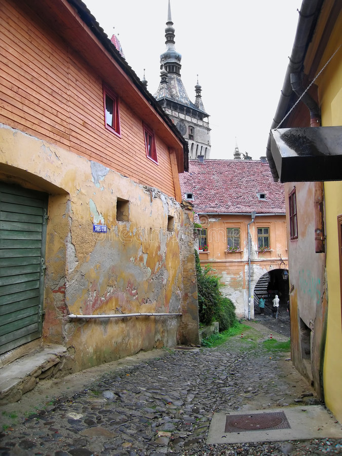 Via di Sighisoara fotografie stock