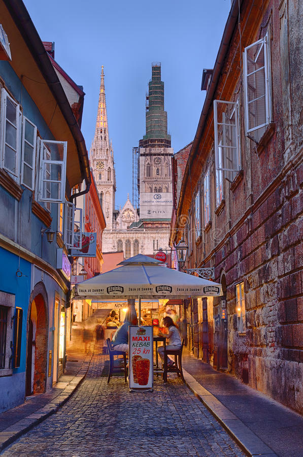 Via di Skalinska, Zagabria fotografia stock libera da diritti