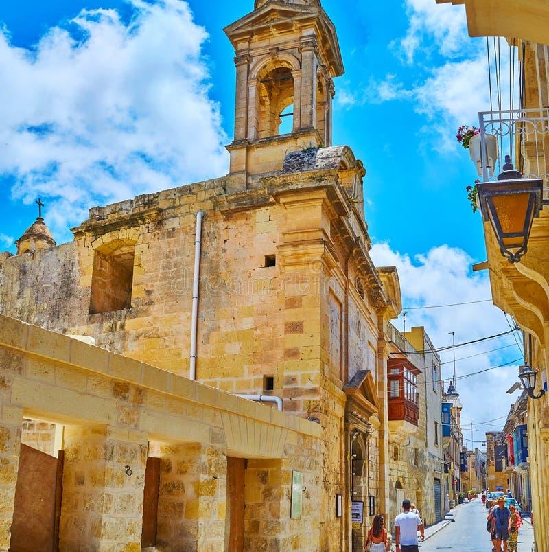 """Via di St Paul con la chiesa di Santa Maria Ta """"Doni, Rabat, Malta fotografia stock libera da diritti"""