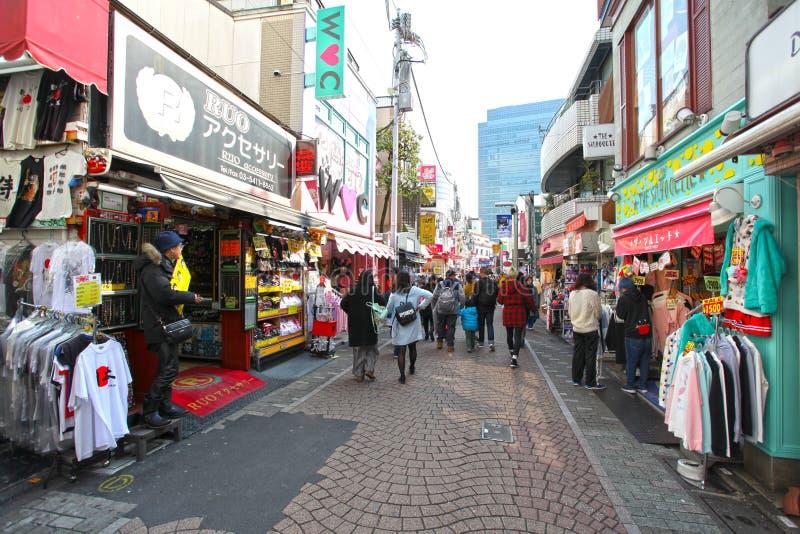 Via di Takeshita in Harajuku, Tokyo, Giappone fotografia stock libera da diritti
