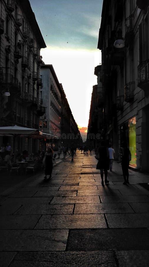Via di Torino - tramonto immagine stock libera da diritti