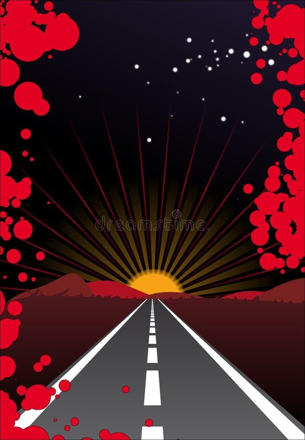Via di tramonto illustrazione vettoriale