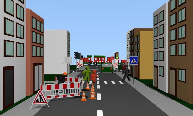 Via di una città con il cantiere, passaggio pedonale e immagine stock