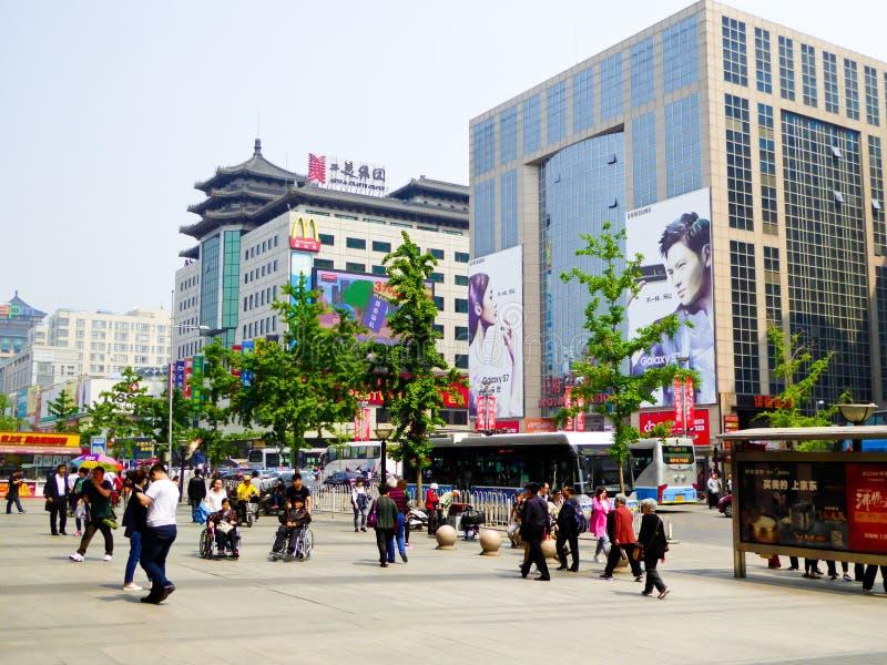 Via di Wangfujing a Pechino fotografia stock libera da diritti
