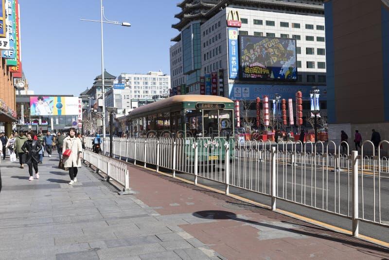 Via di Wangfujing, Pechino, Cina fotografie stock libere da diritti