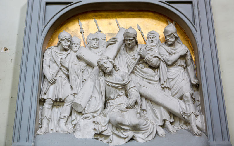 Via Dolorosa. Christ on the Via Dolorosa on Good Friday. Sculpture in the church of the Beguinage in Lier, Belgium royalty free stock photo