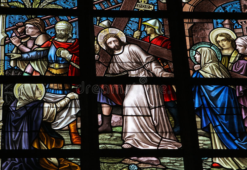 Via Dolorosa. Leaded glass window in church of Alsemberg (close to Brussels in Belgium), made in 1895. Depiction of Jesus on the Via Dolorosa royalty free stock images