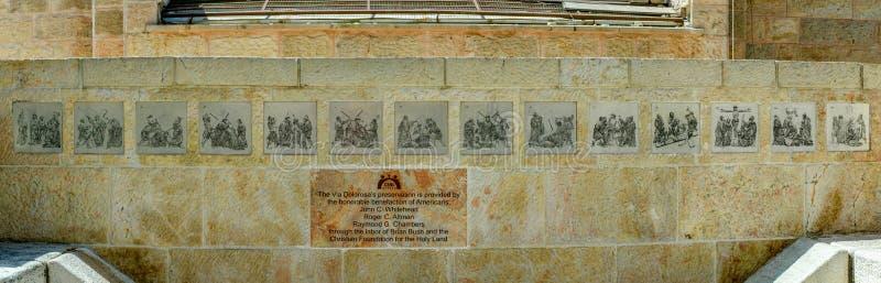Via Dolorosa-Monumentenpanorama royalty-vrije stock foto