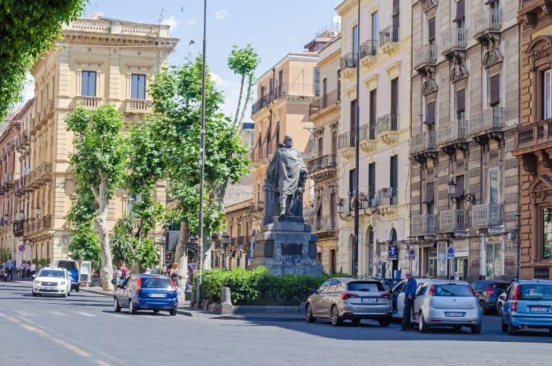 Via Etnea with the statue of Giuseppe Garibaldi stock images