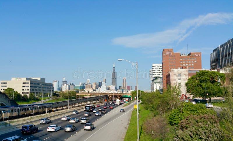 Via expressa de Chicago fotografia de stock royalty free