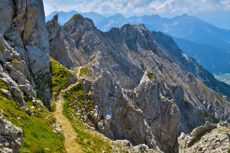 Via ferrata Mittenwald. Trail part of the via ferrata Mittenwald royalty free stock photos