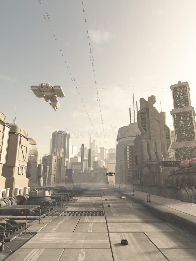 Via futura della città con l'incrociatore dello spazio sopraelevato royalty illustrazione gratis