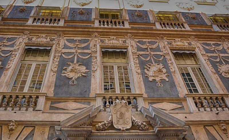 Via Garibaldi - Palazzo Lomellino av Genua Italien arkivbild