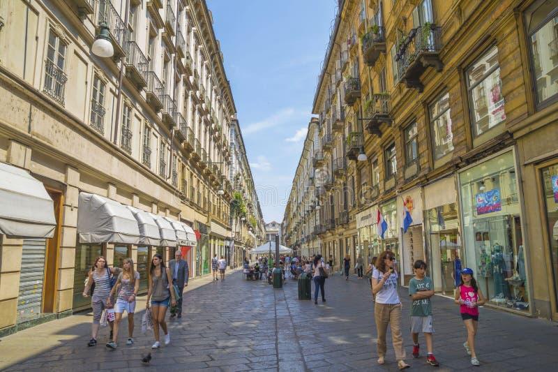 Via Garibaldi, Turijn stock afbeelding