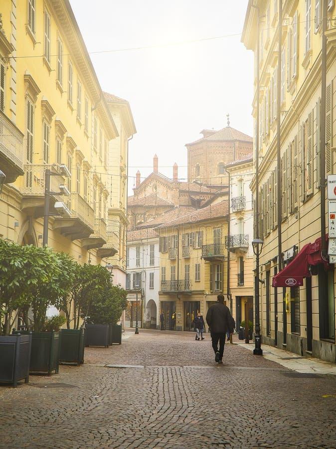 Via Giuseppe Garibaldi street with The Saint Secondo Catholic Church. Asti, Piedmont, Italy stock photo