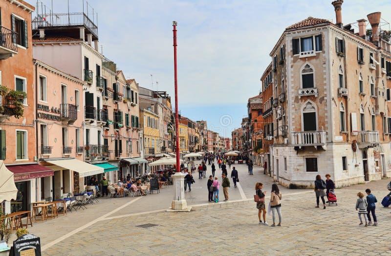Via Giuseppe Garibaldi in Venice, Italy stock photography