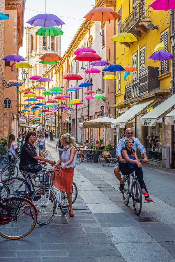 Via Giuseppe Mazzini van Ferrara Emilia-Romagna Italië stock foto