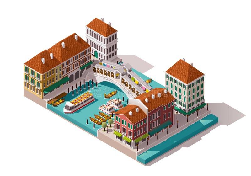 Via isometrica di Venezia di vettore illustrazione vettoriale
