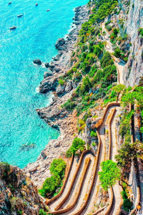 Via Krupp at Marina Piccola in Tyrrhenian Sea Capri Island. Via Krupp at Marina Piccola in Capri Island town in Italy at Naples. Landscape with Blue royalty free stock photos