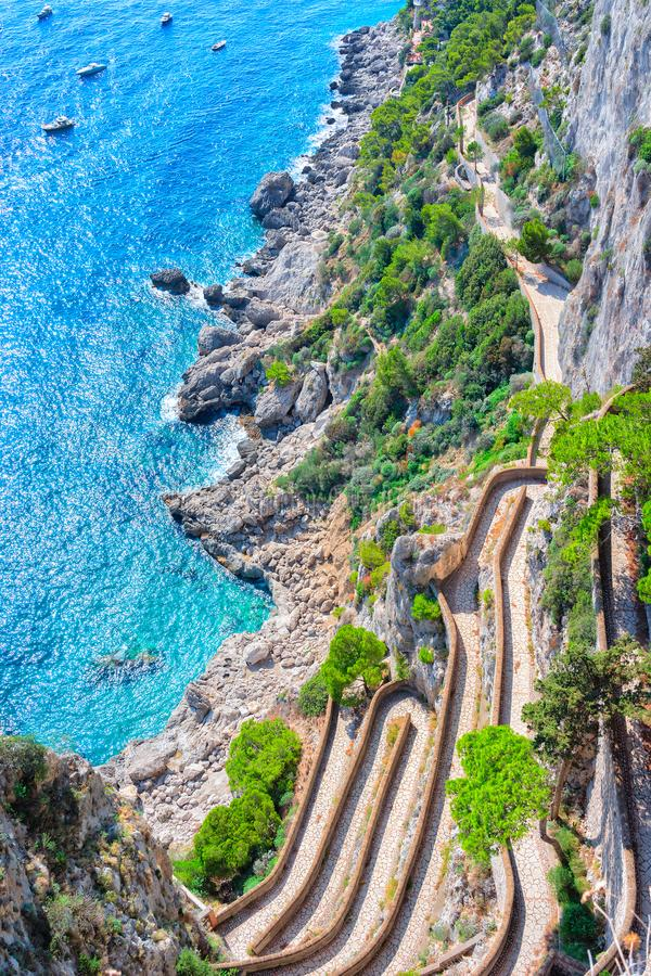 Via Krupp at Marina Piccola in Tyrrhenian Sea Capri Island. Via Krupp at Marina Piccola in Tyrrhenian Sea of Capri Island, Italy stock photo