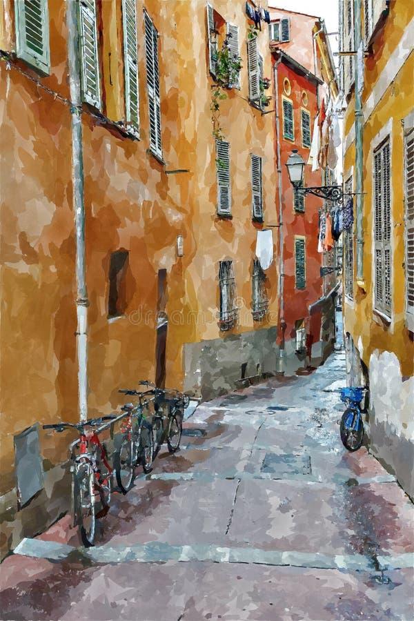 Via la vecchia città di Nizza, illustrazione di Digital nello stile della pittura dell'acquerello illustrazione vettoriale