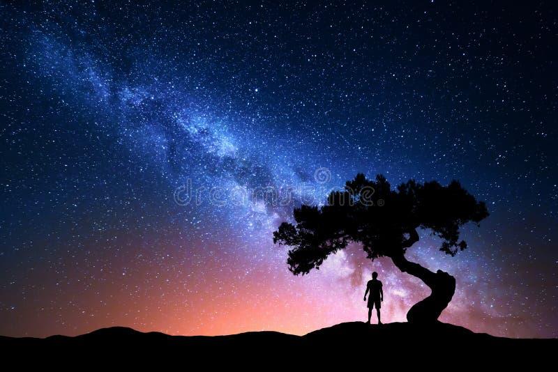 Via Lattea, albero e siluetta dell'uomo solo Paesaggio di notte fotografie stock