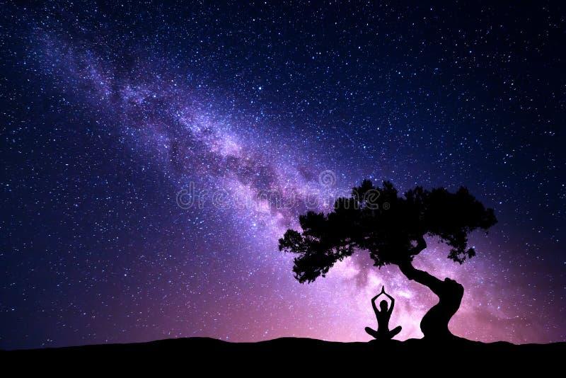 Via Lattea con yoga di pratica della donna e dell'albero fotografie stock libere da diritti