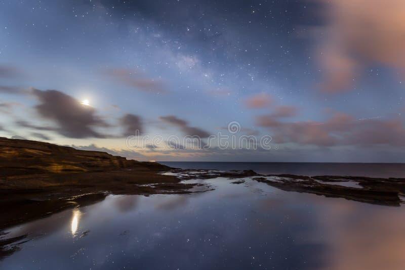 Via Lattea del cielo notturno delle Hawai con le riflessioni dell'oceano immagini stock