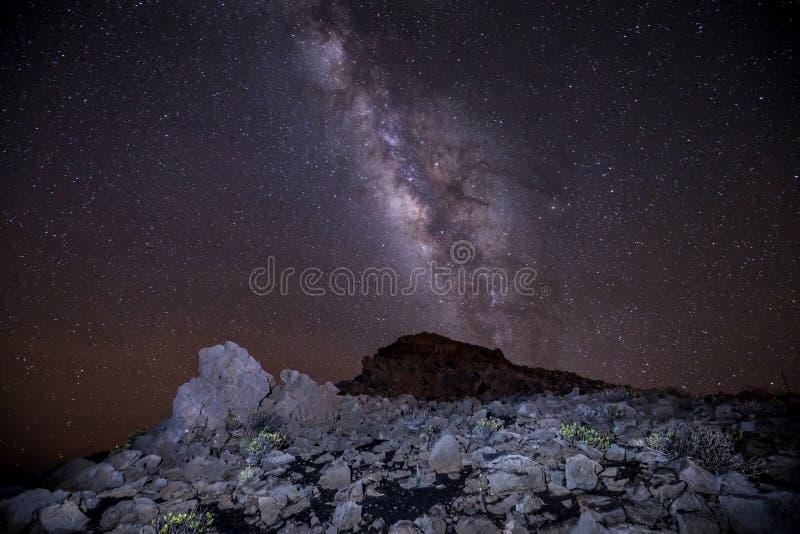 Via Lattea e stelle di Haleakala immagini stock