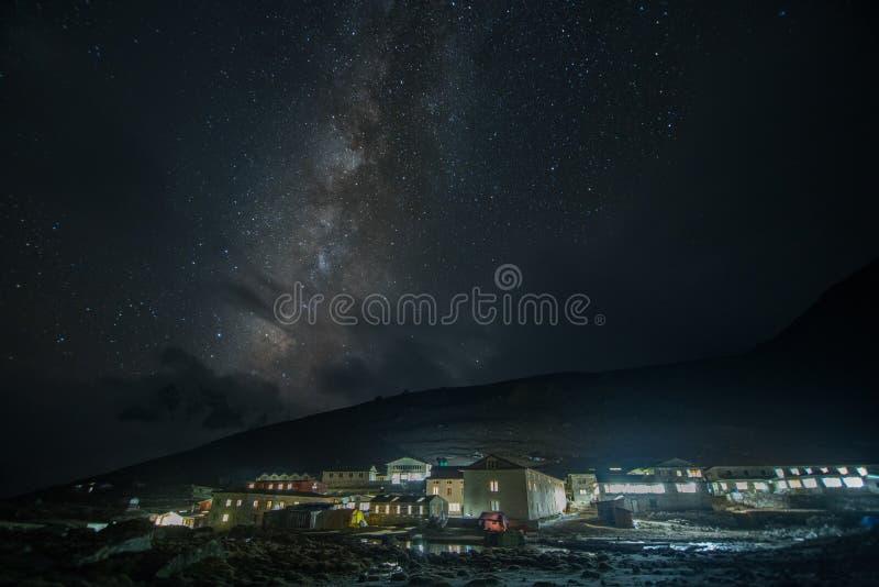 Via Lattea in Lobuche, Nepal Itinerario di viaggio del campo base di Everest nel winte fotografie stock libere da diritti