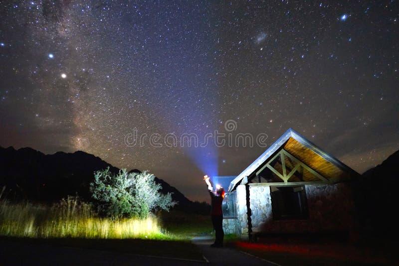 Via Lattea nell'inverno fotografia stock