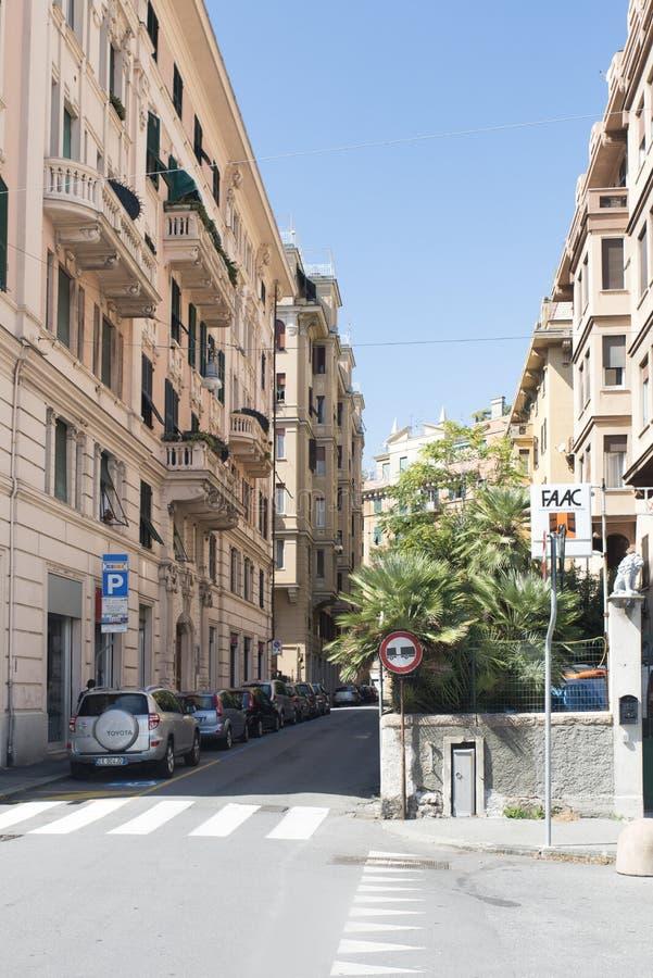 Via Luigi Lanfanconi in Genoa stock photos