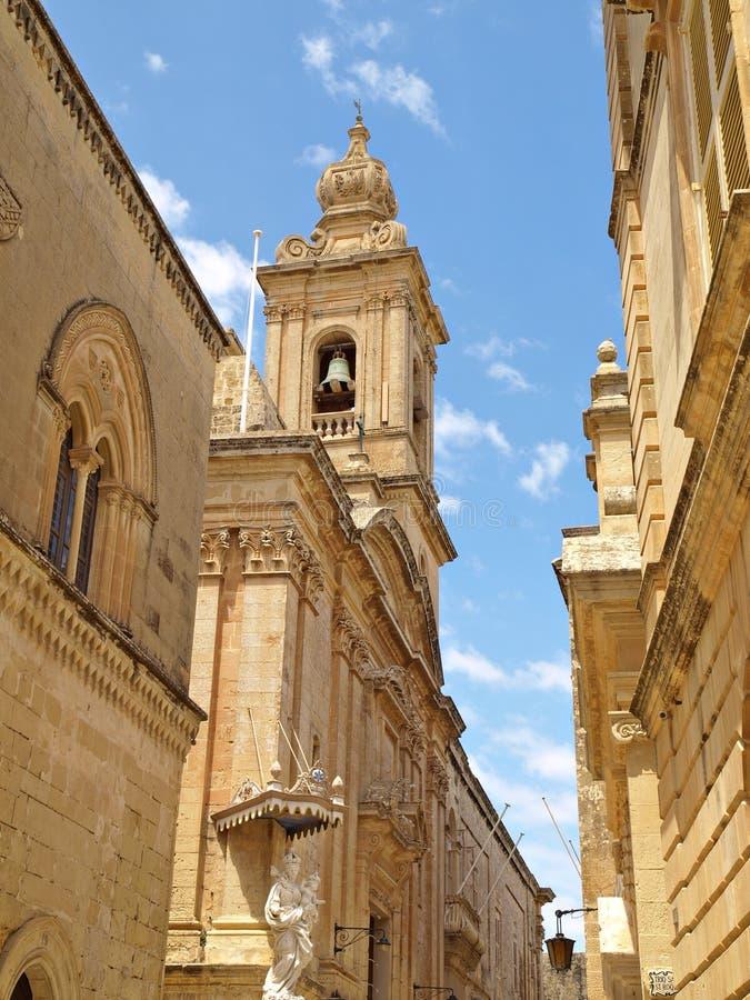 Via in Mdina, una vecchia città di Malta Europa immagine stock